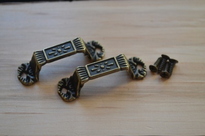 Antique Bronze Finish Embossed Handles (pair)